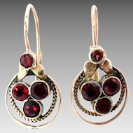 Vintage 14K Rose Gold Earrings Garnet