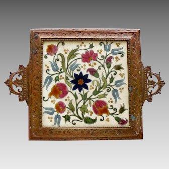 Zsolnay Art Pottery Tile Trivet Pecs Antique 1878