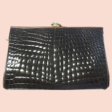 Designer Handbag Judith Leiber Alligator Purse Clutch  Dark Brown Vintage
