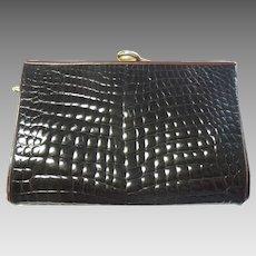 Designer Handbag Judith Leiber Alligator Purse Clutch  Dark Brown Vintage