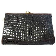 Judith Leiber Alligator Purse Clutch Handbag Dark Brown Vintage