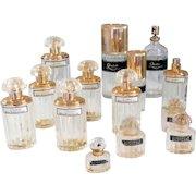 Vintage Set of 14 Balenciaga Perfume and Eau De Toilette Bottles