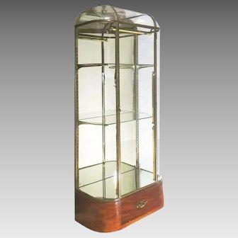 Art Deco French Vitrine Showcase Brass Glass Original