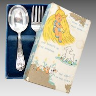 Vintage Sterling Baby Spoon and Fork Rogers Original Box 34 g