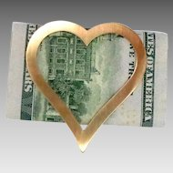 Heart Shaped Money Clip 14Kt Gold Vintage