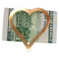 Heart Shaped Money Clip 14Kt Gold Vintage