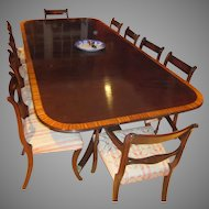 Regency Period Dining Table Mahogany Cross-banded Rosewood Twin Pedestal