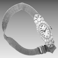 Art Deco Diamond Platinum Ladies Wrist Watch Mesh Band