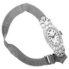 Art Deco Diamond Platinum Ladies Wrist Watch Mesh Band