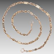 Victorian 14Kt Gold Watch Chain Necklace Antique