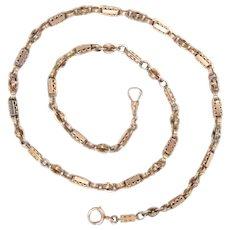 Victorian 14Kt Gold Watch Chain Necklace Antique