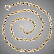 """Vintage 14k Yellow Gold Hand Made Rope Chain, 18"""" L 24.3 g"""