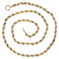 "Vintage 14k Yellow Gold Hand Made Rope Chain, 18"" L 24.3 g"