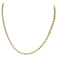 """Vintage 14 Kt Yellow Gold Hand Made Rope Chain, 18"""" L 24.3 g"""