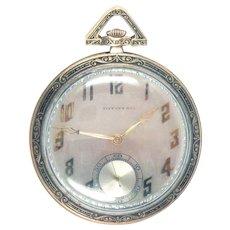 Art Deco Tiffany & Co Pocket Watch 18 Kt Gold C. H. Meylan 21jewels