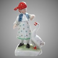 Herend Hungary Porcelain Figurine Girl with Goose Vintage #5565