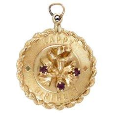 Vintage 14K Gold Birthday Charm Pendant Amethyst 6.9 g