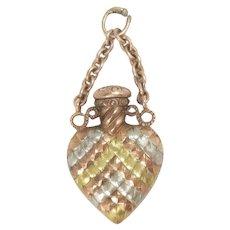 Heart shaped Perfume Bottle Pendant14 Kt Gold Vintage