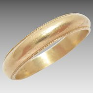 Vintage Wedding Eternity Band Ring 14k Gold Millegrained Size 10.25