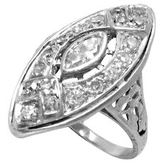 Vintage Ring Platinum Diamond Cocktail Art Deco