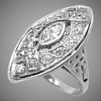Ring Platinum 1 Ct Diamond Cocktail Art Deco Vintage