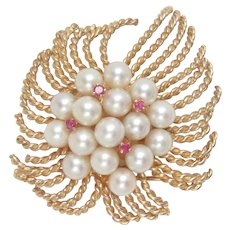 Vintage 14 Kt Gold Pin Brooch Pearl Ruby Large
