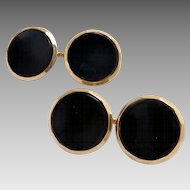 Cufflinks 14 Kt Gold Black Onyx Larter & Sons Vintage