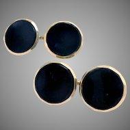 Cufflinks 14 Kt Gold Double Sided Black Onyx Larter & Sons Vintage