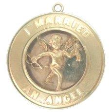 "Vintage 14 Kt gold Charm ""I Married an Angel"" 1"" diameter"