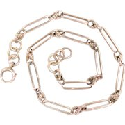 "Victorian Watch Chain Necklace 9 Kt Rose Gold 16.25""  Antique"