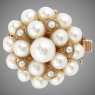 "Vintage Pearl Clasp 14k Rose Gold 23 Cultured Pearls 7/8"" diameter"