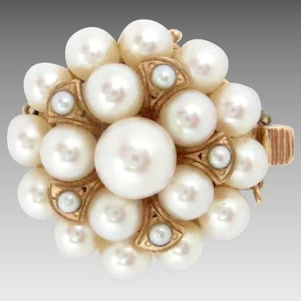 "Vintage Pearl Clasp 14k Rose Gold 23 Cultured Pearls 7/8"" diameter"