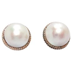 Vintage Earrings 14K Gold Mobe Pearl 16 mm Post and Clip