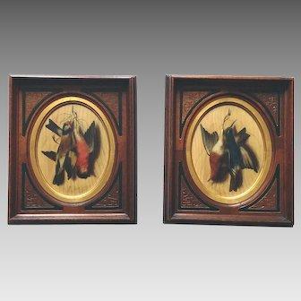 Pair Oil Painting Game Birds M. Meucci Italian, 1840-1890
