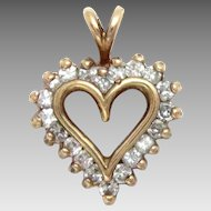 Heart Pendant 14 Kt Yellow Gold Diamond 0.50 Ct Vintage