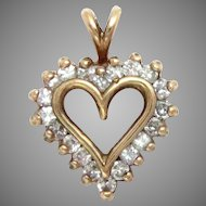 Heart Pendant 14 Kt Yellow Gold Diamond 0.50 Ct Vintage
