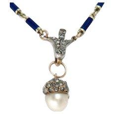 Antique Necklace Pendant 14 Kt Gold Enamel Natural Pearl Rose Cut Diamonds