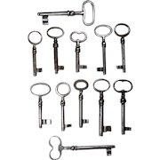 Wrought Iron Keys French Antique European set of 12