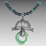 Edwardian Bow Pendant Diamond Jade Emerald Onyx Bead Necklace