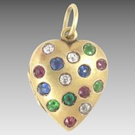 Heart Locket 14kt Gold Diamond Emerald Ruby Sapphire Antique
