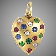 Heart Locket 14kt Gold Diamond Emerald Ruby Sapphire Antique