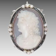 Antique 14K White Gold Pendant or Clasp Agate Pearls Cameo