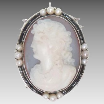Antique 14K White Gold Pendant Clasp Agate Pearls Stone Cameo