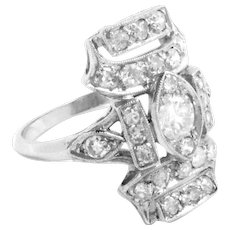 Cocktail Ring Platinum Diamond Ct 1.40 Vintage Art Deco Size 6