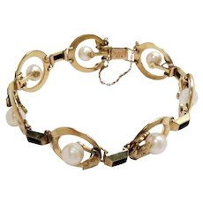 Vintage Mikimoto Bracelet 14K Yellow Gold Cultured Pearls Black Onyx