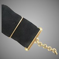 18K Yellow Gold Pocket Watch Fob French Antique Grosgrain
