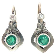 Art Nouveau 14K yellow Gold and Silver Earrings Emerald Diamond