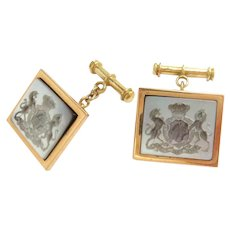 Vintage 18k Gold Cufflinks Agate Crest Prince Albert 11th Hussars