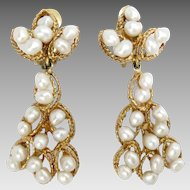 Vintage Earrings 14 Kt Yellow Gold Pearls Drop