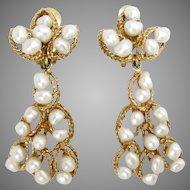 Vintage Earrings 14 Kt Yellow Gold Pearls Drop Retro